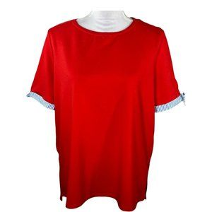 Crown & Ivy Womens Top Size XXL Short Sleeve Crew Neck T Shirt Solid Red Stretch